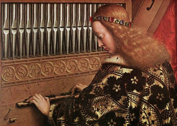 The Ghent Altarpiece Angels Playing Music detail
